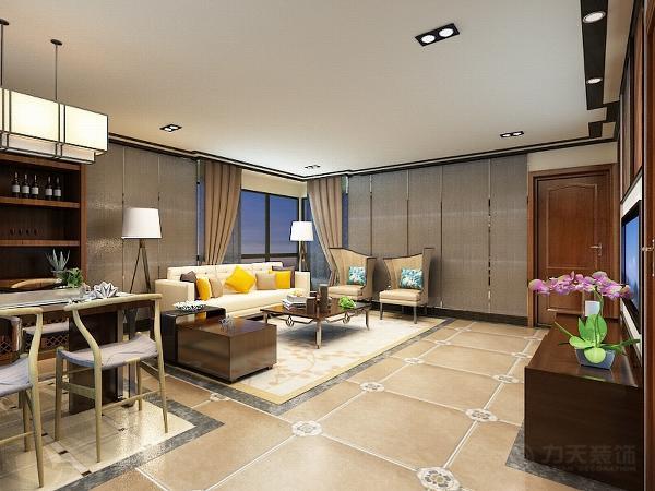 客厅与餐厅的背景墙用深色的软包,这样的设计既体现出客厅的时尚。又与传统的中式相结合