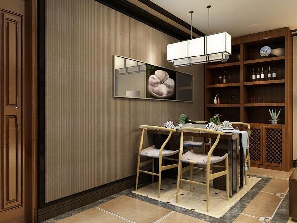 餐厅的设计看似简单,但是却也有着与种不同的感觉。一盏吊灯,一张壁画,既简单又时尚,还没有脱离新中式的感觉。