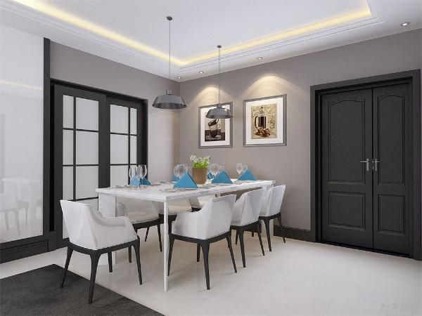 餐厅与客厅相处同一空间,与整体感觉统一融洽。