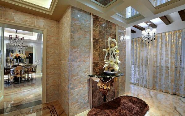 160平三室两厅一厨两卫,欧式风格。 因为客户比较喜欢欧式较光亮的感觉。,材质纹理比较喜欢石材的纹理。所以在材质方面,入户墙地砖我们选择了微晶石,吊顶运用了一些木质,贴近自然。