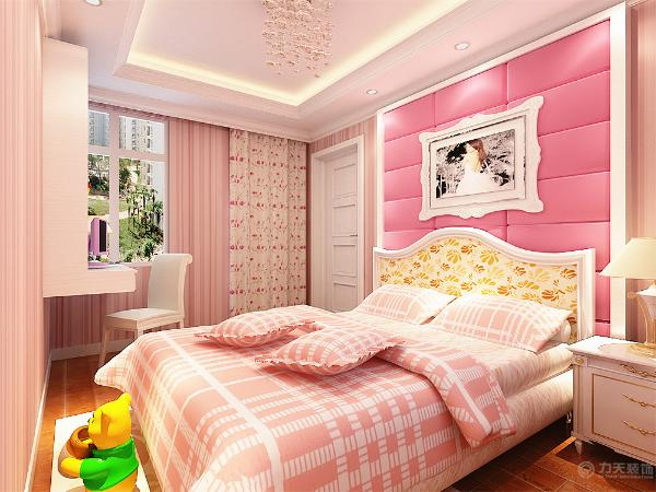 儿童房的设计,作为一个公主房的设计,在整体上以红白相间的条纹作为壁纸进行粘贴,正好符合一个儿童喜欢色彩的时代。窗帘的选择则采用与壁纸相同的色彩,用浅色花布作为窗帘。