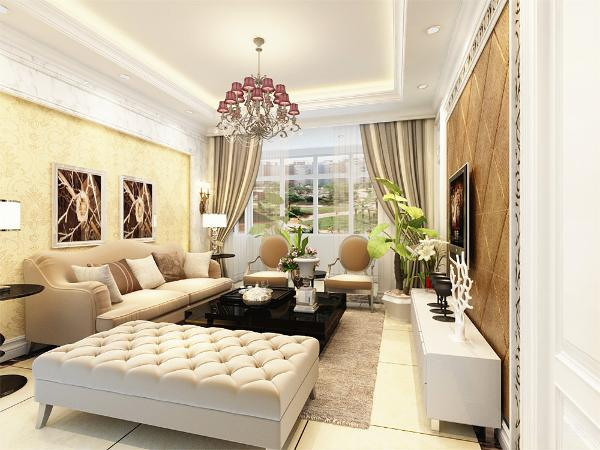 首先在客厅的设计上,大理石的沙发背景墙作为简洁的背景,中间则以黄色的壁纸中间在装饰俩幅画作为沙发的背景墙地面的设计采用了白色的地砖铺设,用波打砖在四周圈出。