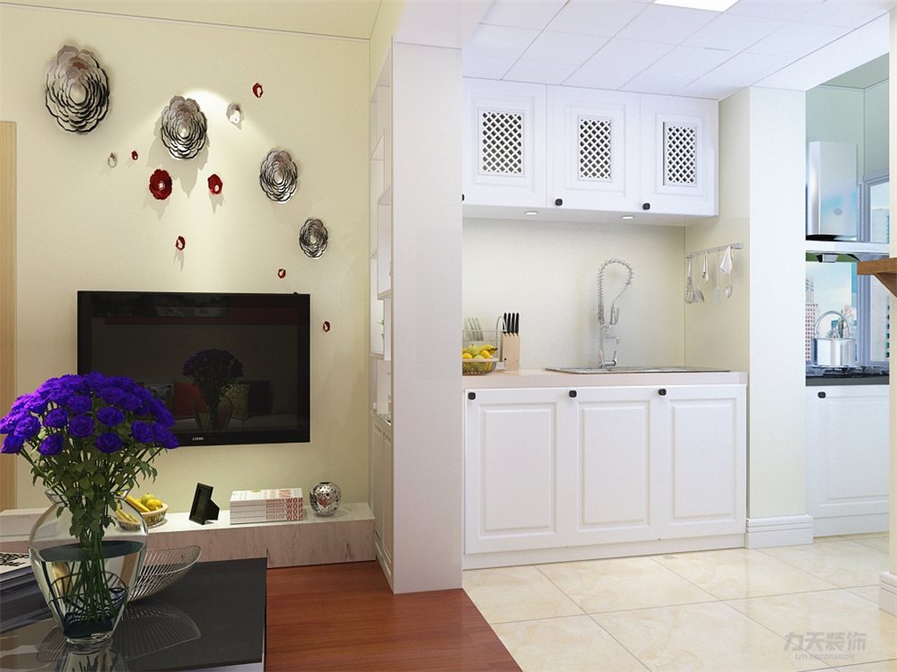 厨房和客厅之间的垭口柜子则完美的区分了空间,在餐厅图片