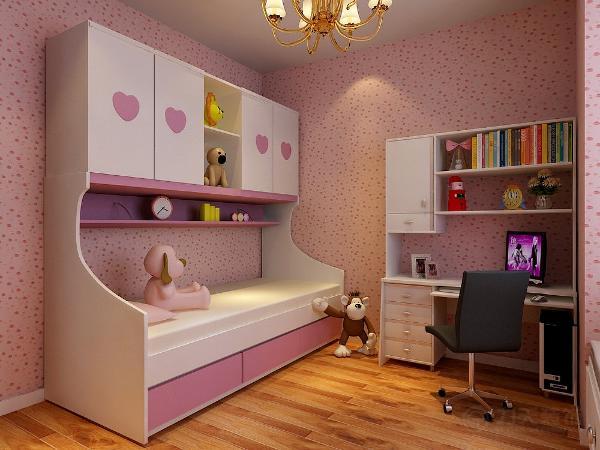 次卧室为儿童房,放上下儿童床,放电脑桌,墙面铺卡通壁纸,美观,可爱。