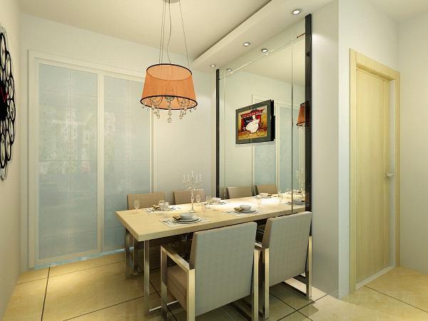 餐厅的空间较小,所以在餐厅的墙面摆放了一面镜子,显得空间更大一些。厨房是封闭式的,采用了推拉门。方便实用。