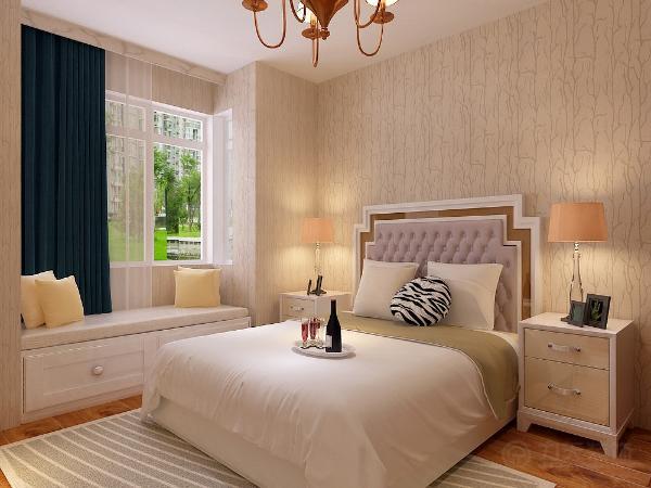 主卧室铺强化复合地板卧室放双人床,在窗边做一小榻榻米,休闲,美观。