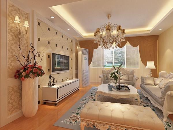 客厅影视墙将抛光砖与壁纸结合在一起,加脚线与壁灯装饰,美观大气。欧式的沙发将欧式特点凸显出来,沙发背景墙是一副欧式挂画。圆形吊顶下是欧式的餐桌椅点缀着洁白的百合。