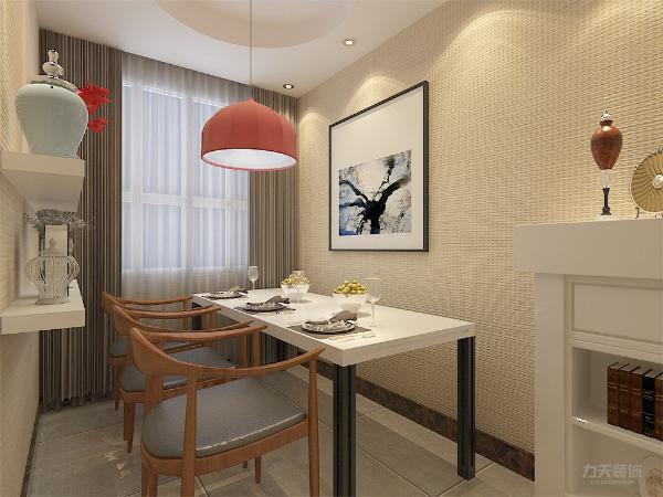 餐厅没有过多的装饰,一张餐桌,一个储物柜,一幅装饰挂画,墙面采用暖色系壁纸作为装饰,单一的色彩难免有些乏味,所以我选用亮红色的吊灯,打造一种视觉上的冲击。