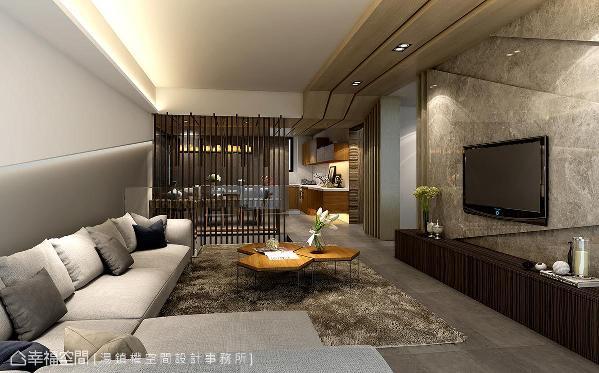 大理石打造的电视墙采凹凸面设计,与木皮天花板堆栈出的延伸线条相呼应,带来丰富的立面层次。 (此为3D合成示意图)