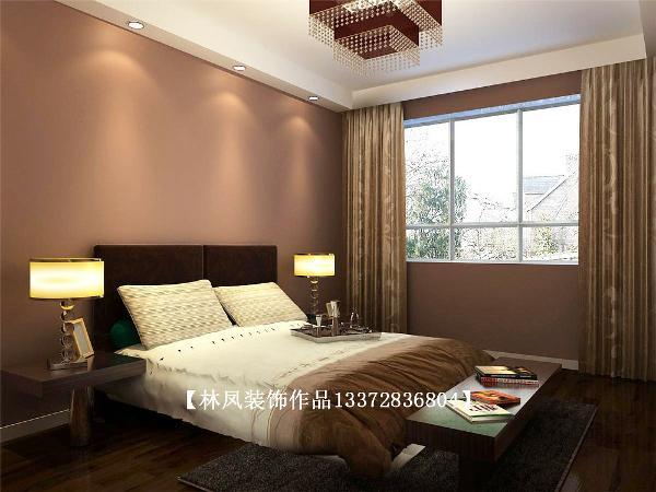 卧室采用了深色的床头背景色作为底色,配以简间的床头柜,两侧柜子上的灯饰既作为夜晚的辅助照明,也作为平时的装饰使用,