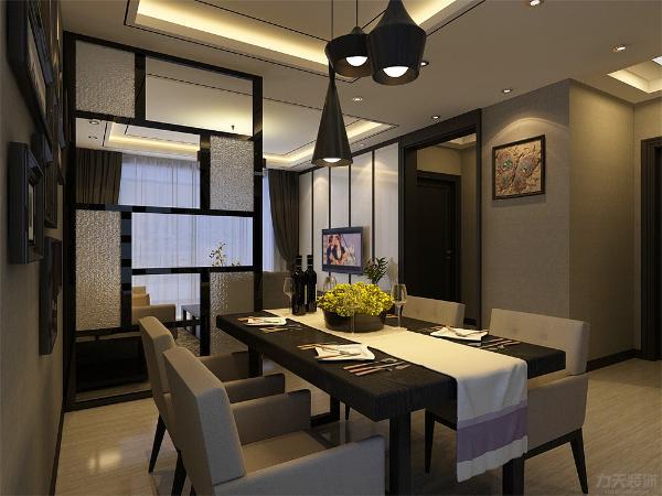 客餐厅吊顶采用含灯池石膏板吊顶加黑色石膏线,给人一种层次感,显得空间宽阔,地面采用黑白木纹石大地砖。