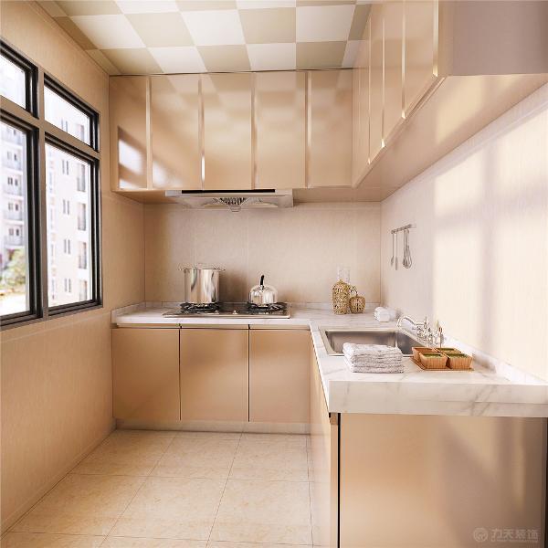 厨卫区域,卫生间是做的干湿分离,然后是厨房,厨房用的L型的橱柜,门板用的香槟金的镜面板材