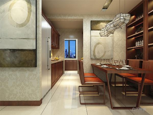 餐桌和酒柜也互相联系,使得空间既有分割又有联系,深色橱柜的选用让厨房空间也显得更加高档, 瓷砖的铺贴方式我们错开了本来的缝隙,显得更加活泼,餐厅位置餐桌和酒柜的材质互相搭配。