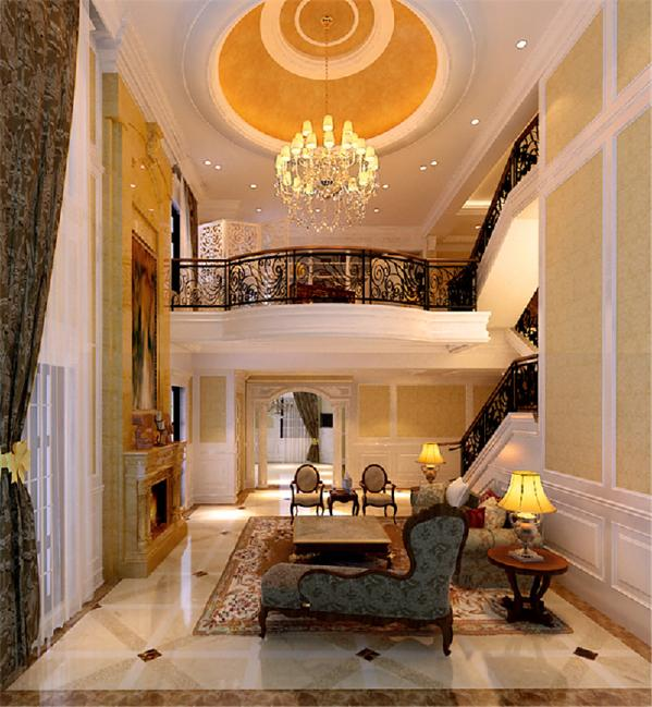 丰富的吊顶造型,华美的水晶吊灯,优雅的客厅家具,精细雕刻的图案,每一个设计元素欧极其丰富。