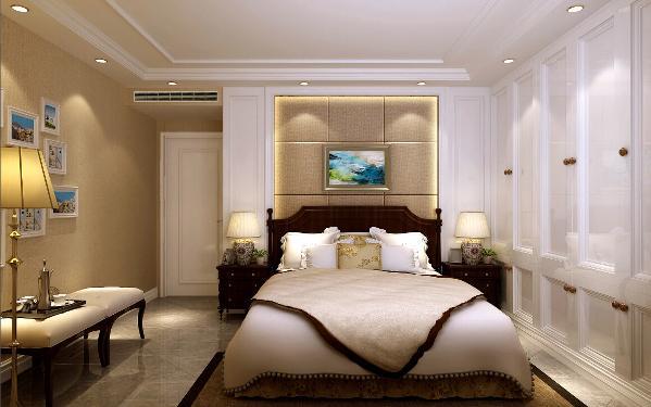 卧室整体很简洁。没有做过多复杂的设计。给人很干净、舒适的感觉。衣柜和床头背景整体设计。