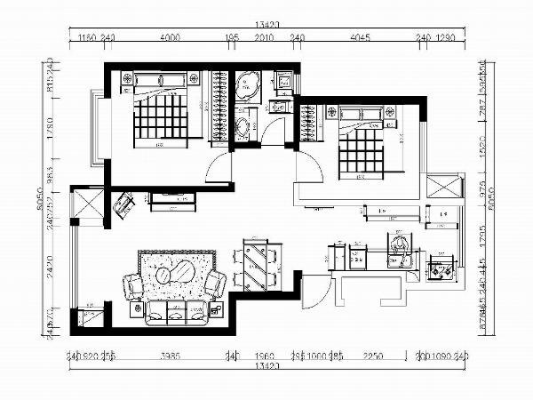 本次案例设计的是港西新城99㎡两室两厅户型。