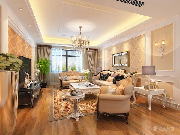 沙发背景墙与电视背景墙相呼应,都是用石膏板做造型,中间部分加壁纸,客餐厅整体墙面为暖咖色乳胶漆,奠定了温馨的基调。