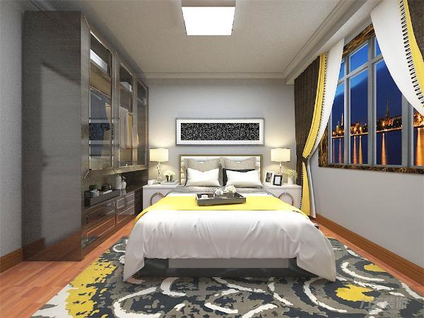主卧室背景墙用壁纸、挂画做装饰,白、黄、黑搭配的床整体体现温馨的感觉,柔和的色调,不会显得混乱。次卧、书房整体感觉和主卧一样,具有统一性。整个设计和谐统一,给人以温馨舒适的感觉。