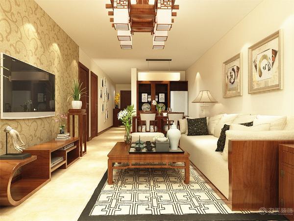 客厅用的是浅黄色的乳胶漆,地面是暖色的地砖,家具以红木色为主。