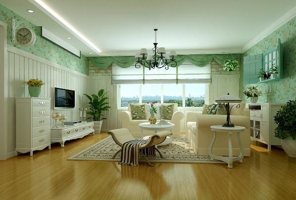 客厅:一楼客厅楼梯下用小假山装饰,恰似回归自然。电视背景墙用石膏线边框,浅色壁纸。与整个空间融合在一起,更显干净。