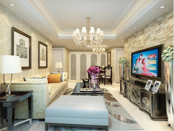客厅的顶面为回字形灯带吊顶,美观,灵动,线条优美。电视背景墙贴的是艺术墙贴纸,沙发背景墙挂了两幅具有欧洲气息的挂画,沙发和茶几以及电视柜都是采用欧式风格的。