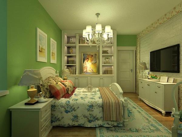 卧室我们在设计上设计的颜色搭配就显得清淡和清新一些同样墙体我们选择的经典的小碎花