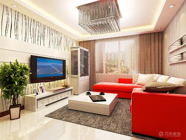 电视背景墙用石膏板拉封进行设计,石膏板的上下俩侧放置于灯带,照亮电视背景墙,电视背景墙的壁纸是竖条纹的壁纸。
