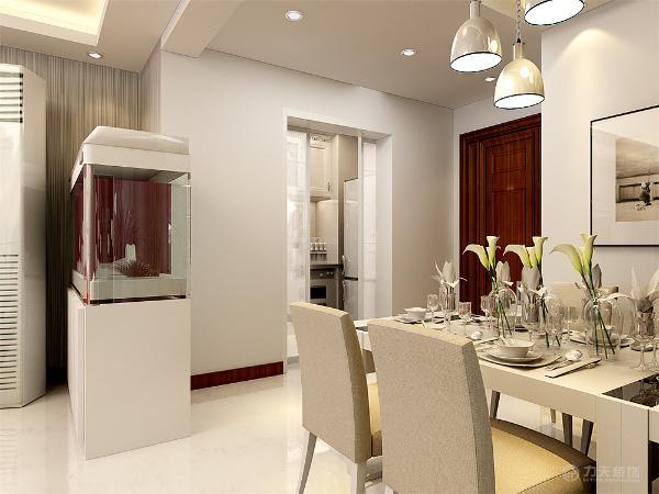 餐厅的设计在设计上体现了简洁干净的设计,白色的简洁吊灯,背景墙则用玻璃镜面进行装饰,白色的鞋柜处于门口处。厨房的设计成现在的橱柜。