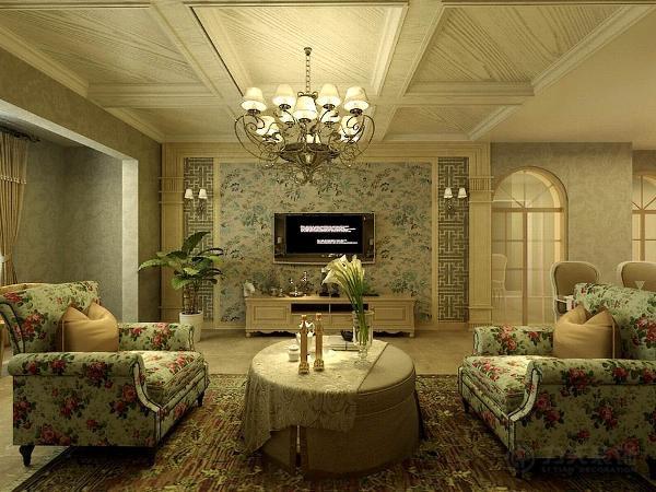 而电视背景墙为了彰显田园风格的回归感我们选用了墙砖的造型,让业主感觉人与自然完美融合于一室,呈现出闲适,淡雅的自然生活氛围