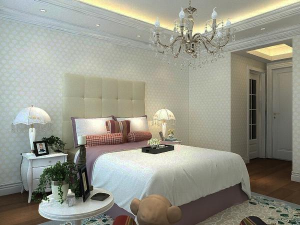 墙面通贴壁纸,床头背景以软包相配。淡紫色的床很是清新。地面铺贴木地板,脚感好又实用。