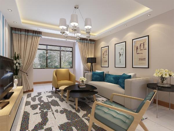 客厅的吊顶运用回字型吊顶设计,显得客厅空间感比较强,客厅的设计较为简约,但是显得很大方。