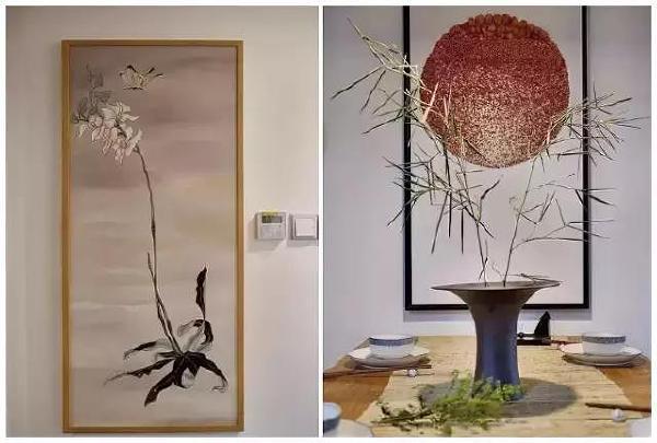 ▲ 进门端景的蝶戏兰花与餐桌的布景 都充满了淡淡的诗意。