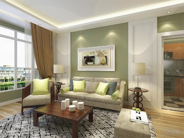 客厅中电视柜选择挂式,沙发背景墙为石膏板圈边,白色与绿色乳胶漆相结合,干净大方,中间悬挂艺术画极具装饰性。靠墙位置放置米色布艺沙发,与墙体颜色形成差别又不矛盾。