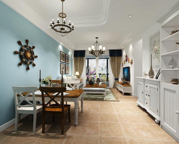 客厅 简单的回字形吊顶,以圆角的形式隐喻拱门造型,更加有地中海风格的特色。简单背景墙不占用过多空间。
