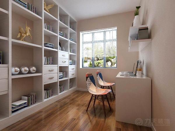 书房整体刷咖色乳胶漆,书柜与书桌都为白色,使整个空间显得十分干净,椅子的搭配为整个空间的亮点。