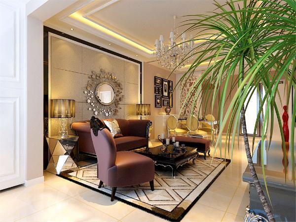 客厅采用暖色抛釉砖,搭配紫色绒面沙发。地毯菱形欧式复古风地毯,背景墙采用对称造型内贴反光壁纸,两边造型内镶嵌软包造型。和沙发形成统一。棚面与地毯形成呼应,内镶石膏线起到视觉上的层次感。