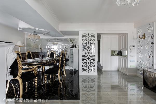 餐厅成为室内的首要区域,后方壁面以切割镜面造型铺陈,延伸的视觉感受,替空间带来放大效果。