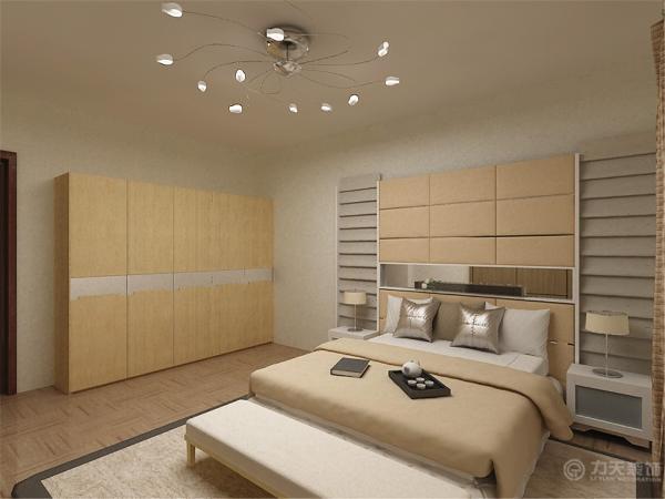 主卧室采用白色,加以简单的定制柜体和床,柜体一半做假门将小书房藏于柜体后,给人以清新、淡雅的感觉。屋内整体采用木地板进行空间链接。