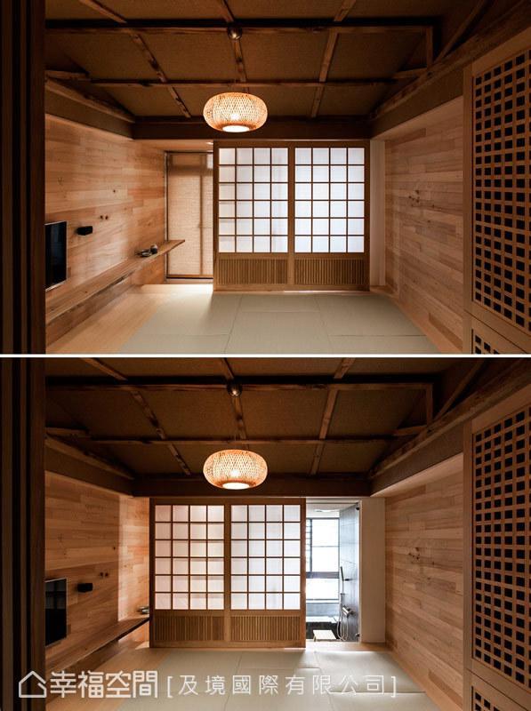 除了风格的演绎外,传统的日式拉门也能作为空间的隔屏,维持个人盥洗时的隐私性。