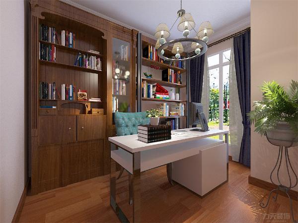 书房做石膏线,做一整面墙的书柜,书柜下面做储物柜,一张书桌,整个空间 简洁实用。