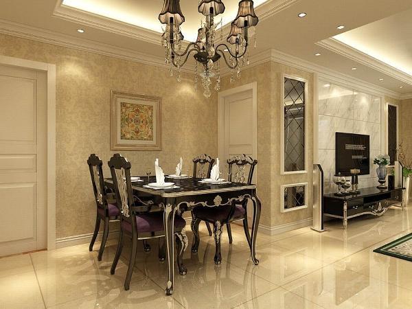 餐厅回字形吊顶加灯带装饰,中间是水晶大吊灯。黑烤漆的餐桌椅加银色花纹,显得格外的大气。