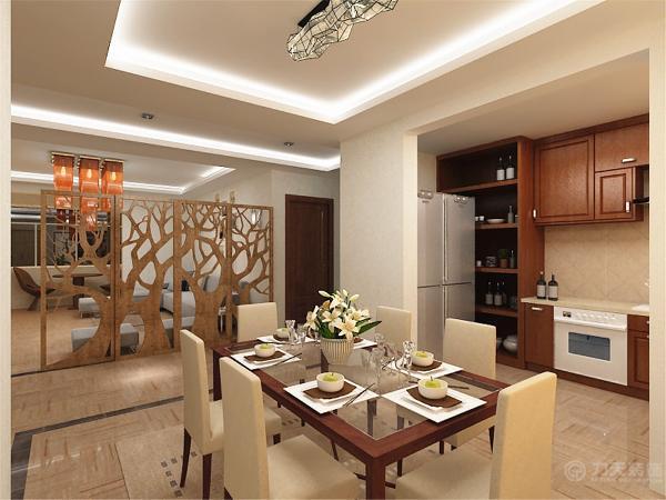 客厅走廊和餐厅,餐桌椅的材质和风格与沙发相一致。