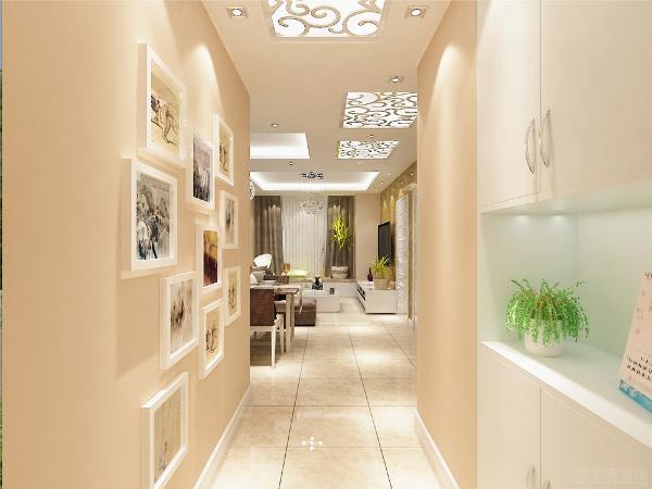周围墙面用的都是白色的乳胶漆。客厅采用回字形灯池吊顶进行区域划分,挂上主灯,给人以简洁的感觉。