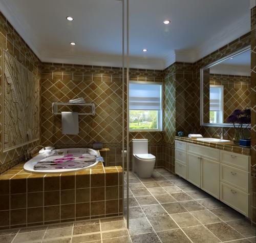 卫生间:卫生间合理规划,材质以仿古砖为主。