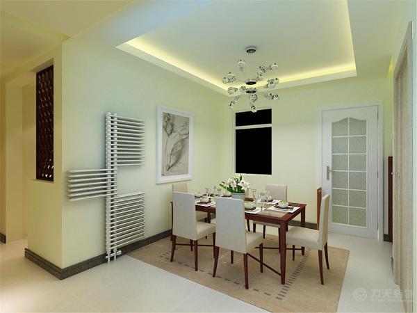 餐厅区入户门走廊左侧,餐桌椅的材质和风格与沙发相一致。