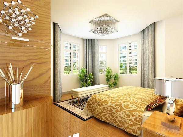 卧室则采用白色的吊顶以及木地板进行铺装,一盏吸顶灯作为主光源的照入。