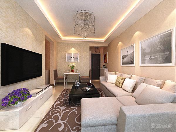在功能方面,客厅是主任品味的象征,体现了主人品格,地位,也是交友娱乐的场合,电视背景墙采用大马士格的壁纸做简单的装饰