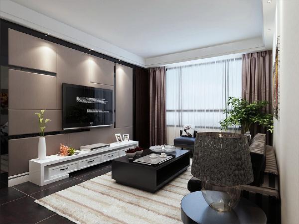 客厅影视墙中心硬包加黑色镜面,突出了客厅的华丽与典雅气息,搭配上现代家具深色的大气,提升了主人的绅士风范--绅士格调 现代风格金隅悦城