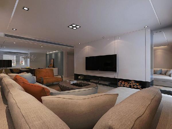 整体风格以简单为主,对背景墙做整体石膏板拉缝效果,用直线作为点缀凸显风格。