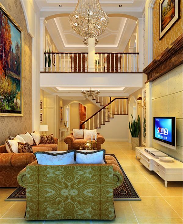 客厅的挑高部分的电视主体墙及造型吊顶,营造了华丽典雅的空间感。